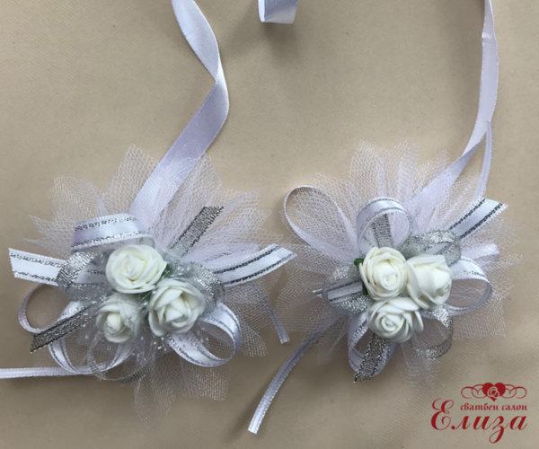 Сватбена украса за свещи и чаши в сребърно и бяло N12